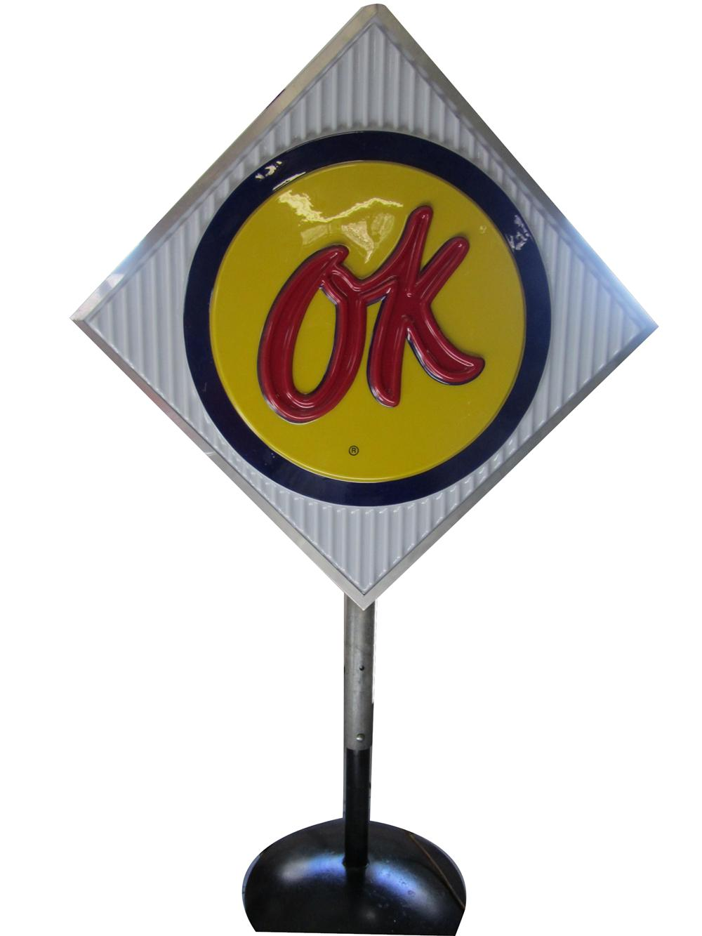 Highly sought after 1960s Chevrolet OK Used Cars single-sided light-up dealership sign on stand. - Front 3/4 - 158298