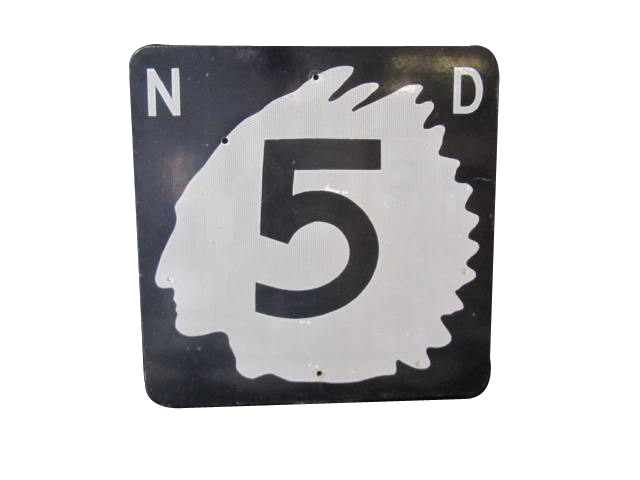 Impressive 1950s North Dakota Highway 5 road sign with Native American Chieftain logo.  Worthy of bragging rights! - Front 3/4 - 158305