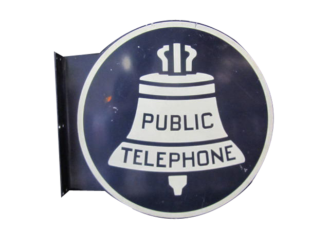 Vintage 1940s-50s Bell Public Telephone double-sided tin painted flange sign. - Front 3/4 - 158309