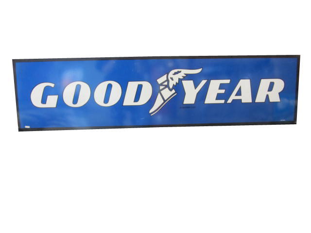 N.O.S. Good Year Tires self-framed horizontal tin garage sign with winged logo.  Very clean! - Front 3/4 - 158312
