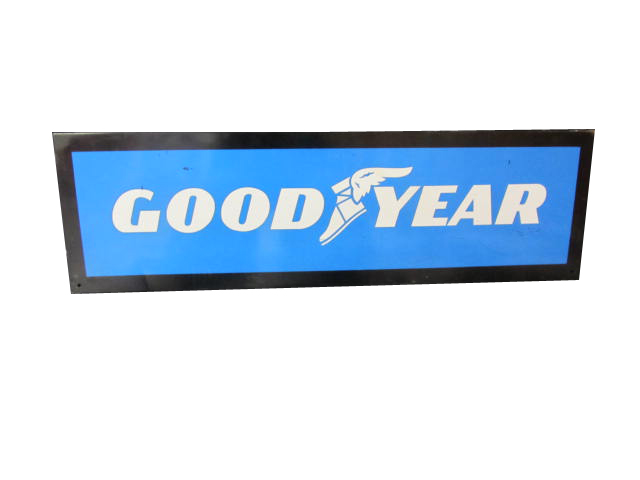 N.O.S. Good Year Tires self-framed horizontal tin garage sign.  Very clean! - Front 3/4 - 158317