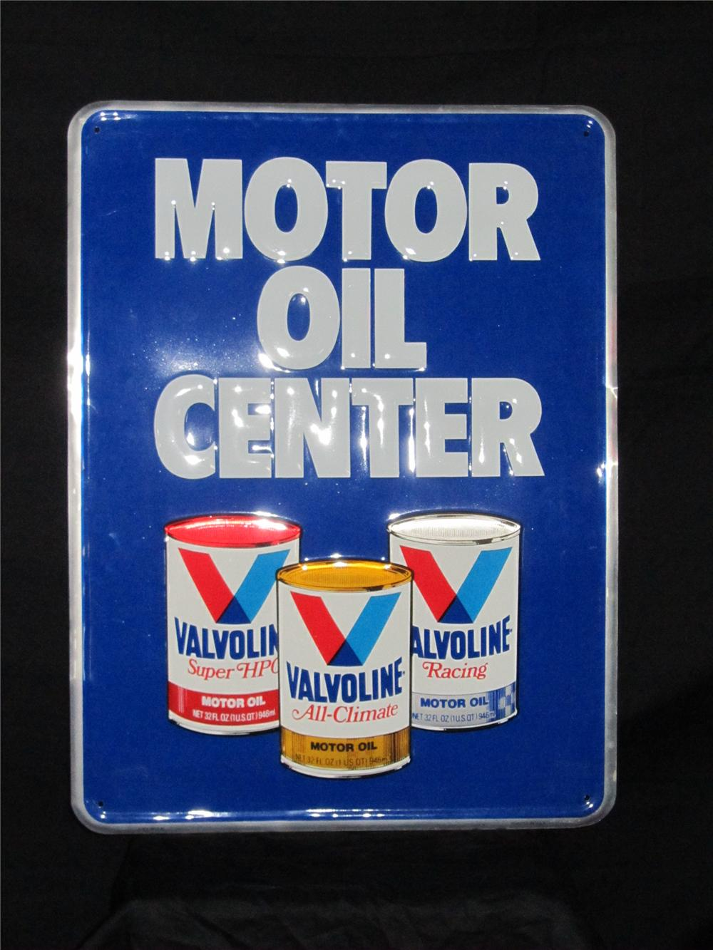 Good looking Valvoline Motor Oil Center embossed tin garage sign. - Front 3/4 - 158318
