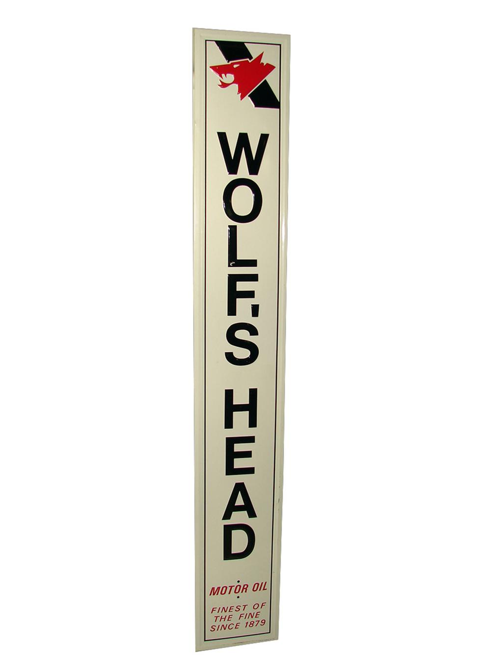 N.O.S. Wolfs Head wood framed vertical tin sign with killer embossed logo. - Front 3/4 - 158338