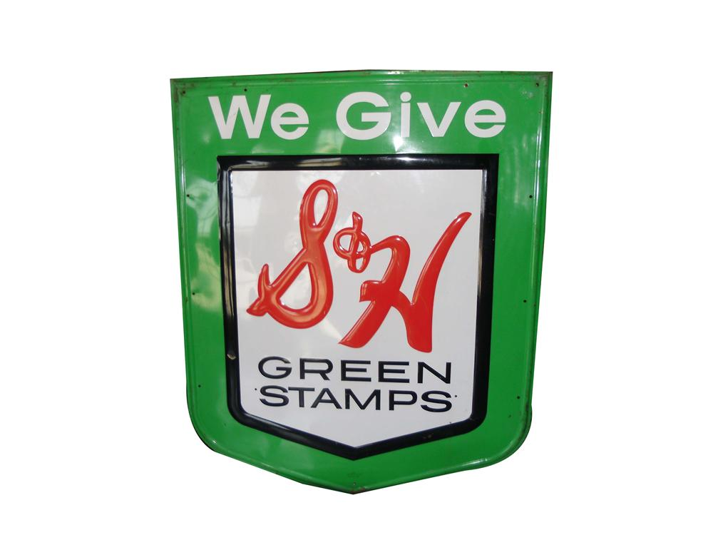 Large S&H Green Stamps embossed tin service station sign. - Front 3/4 - 158341