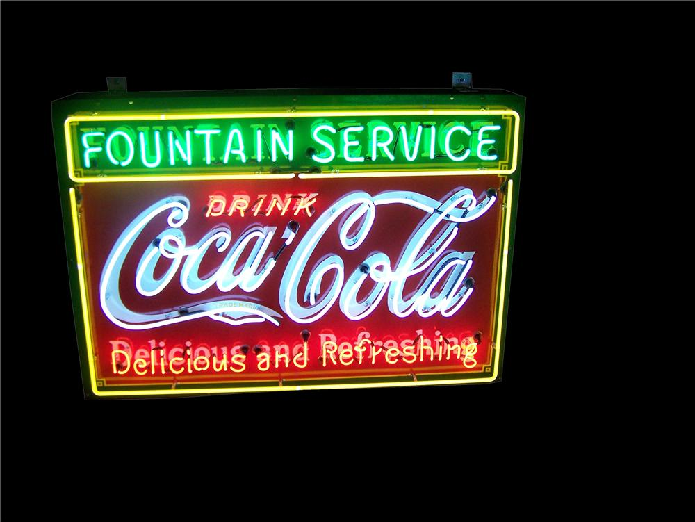 Sharp 1930s Coca-Cola Fountain Service singe-sided porcelain with neon diner sign.  Worthy of any museum. - Front 3/4 - 158355