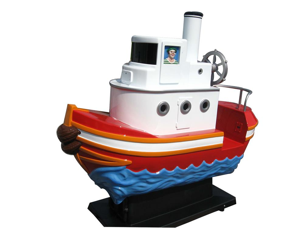 Unique Circa 1970s Twenty-Five cent coin-operated Tug Boat kiddie ride nicely restored beyond day one. - Front 3/4 - 158974