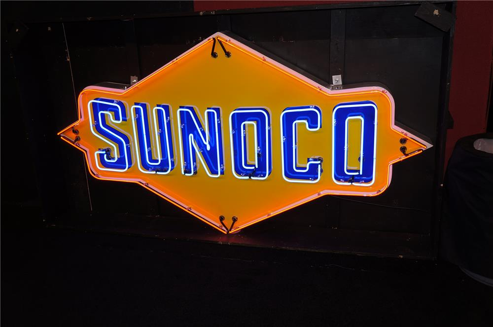 """Spectacular 1950s Sunoco Gasoline single-sided porcelain neon service station sign.  Simply immaculate!   Size 96""""x50"""" - Front 3/4 - 160093"""