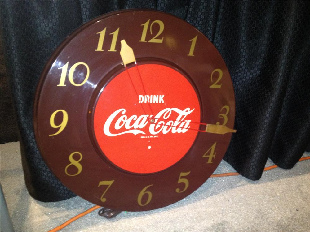 Addendum Item- Hard to find 1940s-50s Drink Coca-Cola metal electric wall clock. - Front 3/4 - 160553