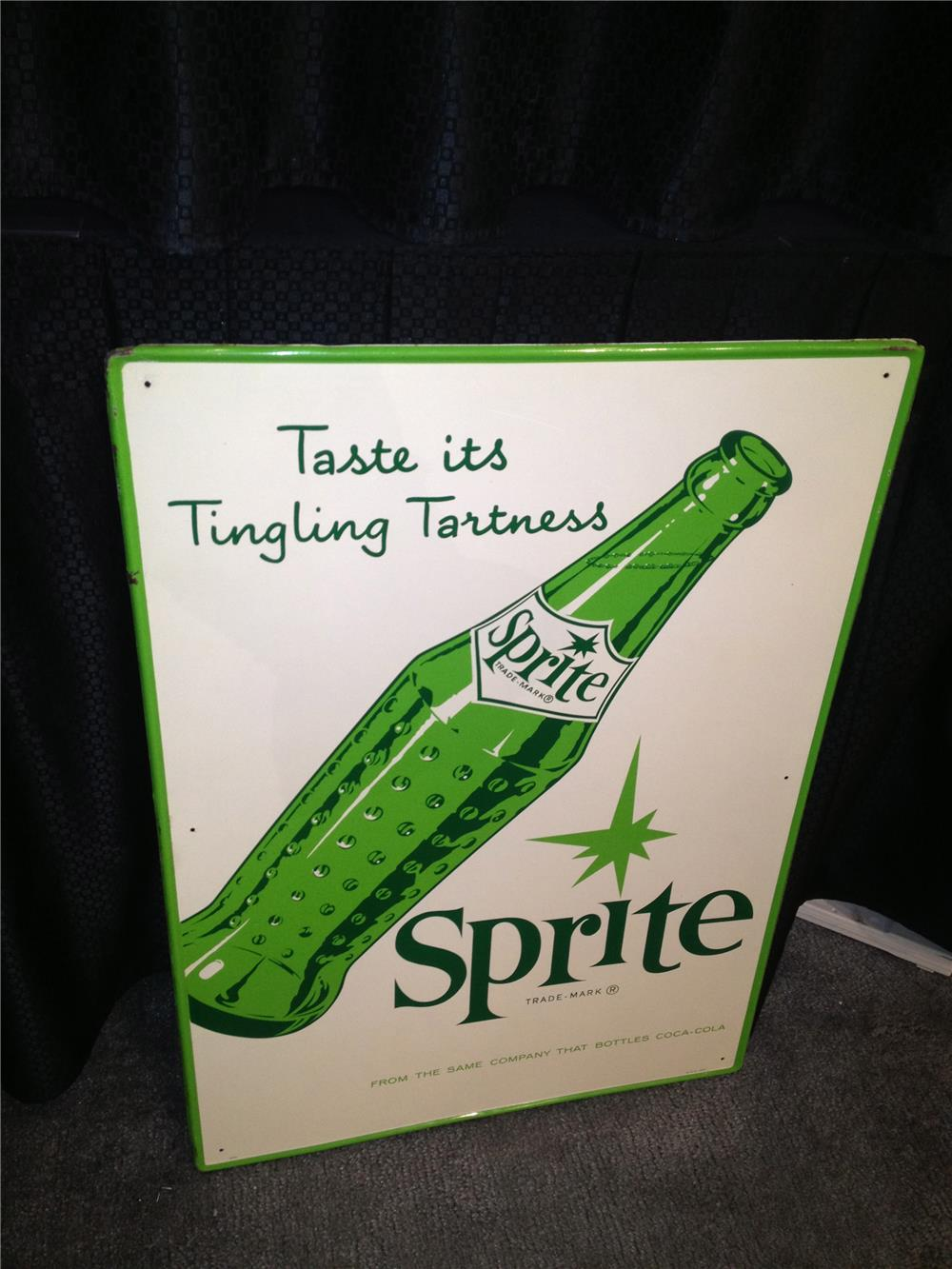 Addendum Item - Extremely rare 1960s Sprite Soda product of Coca-Cola Bottling single-sided self-framed vertical tin sign wi... - Front 3/4 - 160573