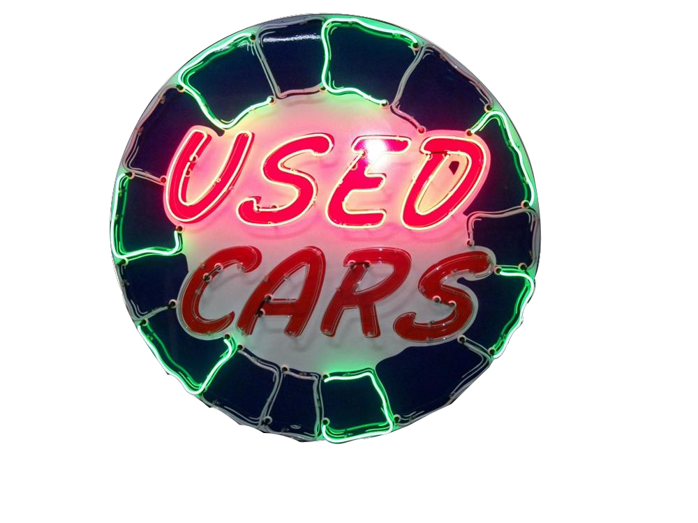 Stellar 1950's Used Cars single-sided neon porcelain dealership sign. - Front 3/4 - 162103