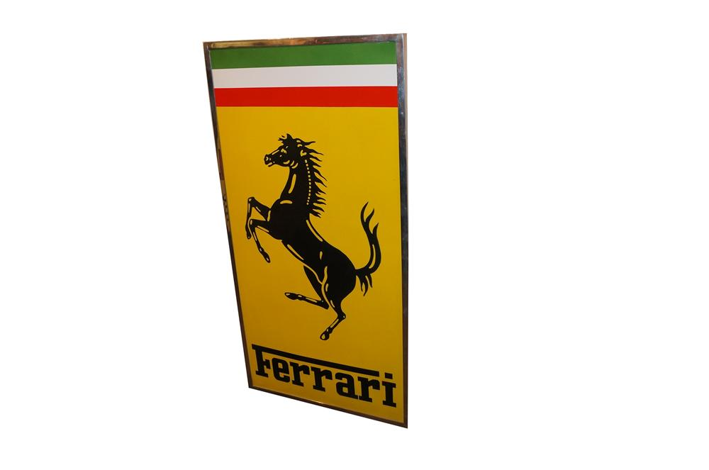 Highly prized 1960's Ferrari Automobiles single-sided porcelain dealership sign. - Front 3/4 - 162105