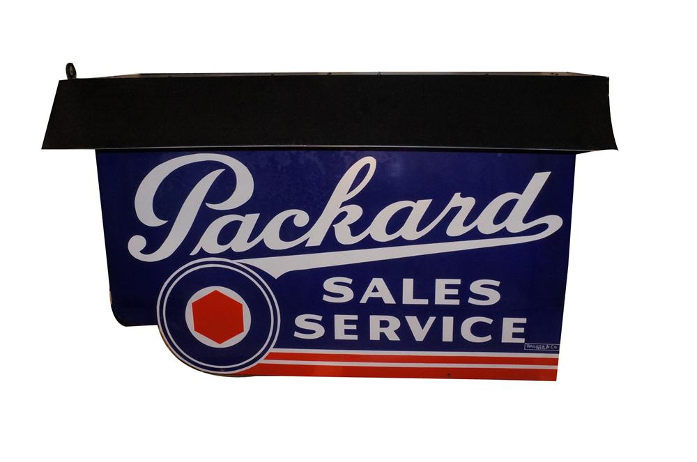 Extremely rare Packard Automobiles double-sided porcelain dealership sign with lighted bonnet.  Sign is in near perfect condition. - Front 3/4 - 162108