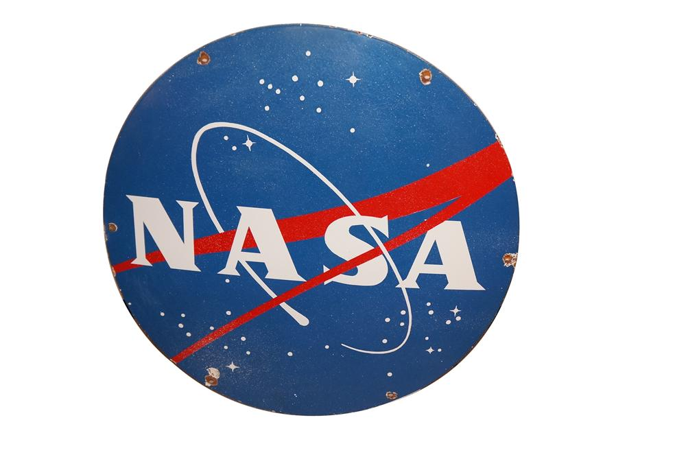 Historically significant 1959-early 60's Mercury Project era NASA single-sided porcelain sign from the Marshall Space Flight Center in Huntsville, Alabama. - Front 3/4 - 162111