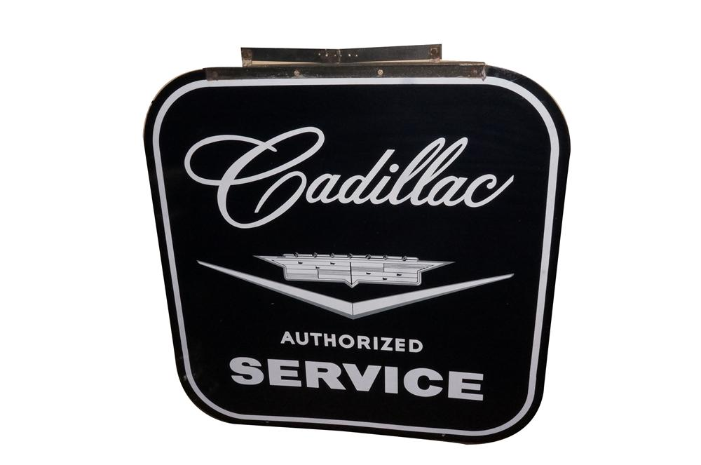 Rarely seen late 1950's-early 60's Cadillac Service double-sided porcelain dealership sign still in the original hanging bracket. - Front 3/4 - 162113
