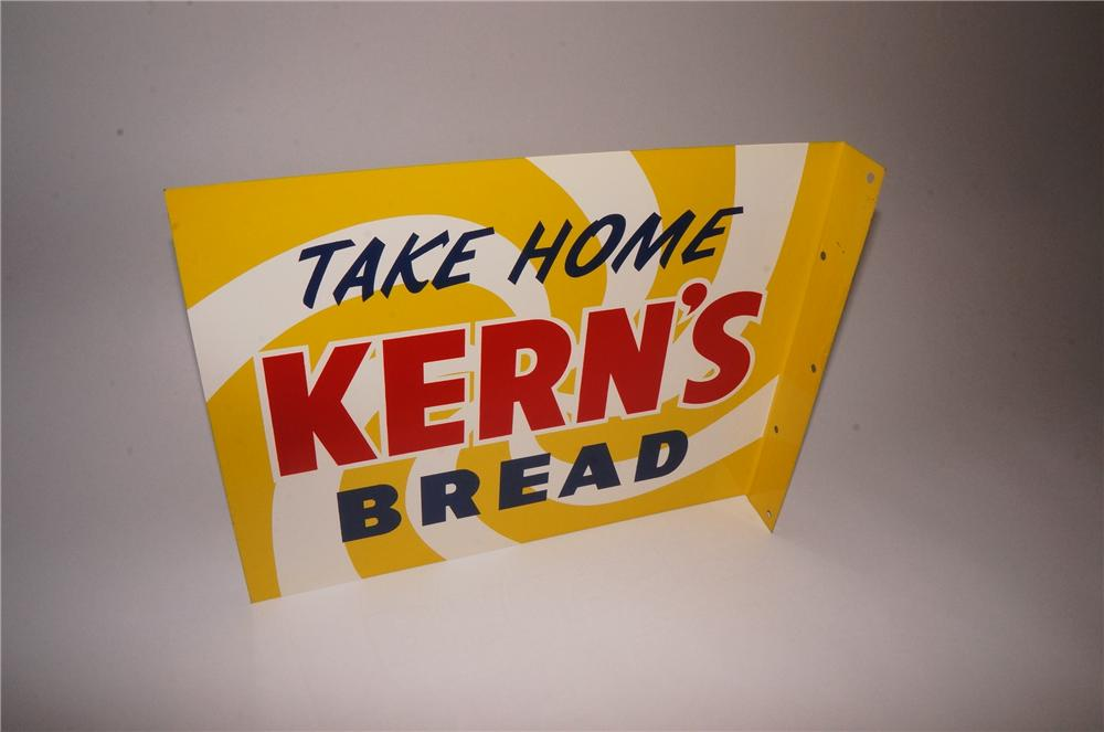 N.O.S. Take Home Kern's Bread double-sided tin painted flange sign. - Front 3/4 - 162114