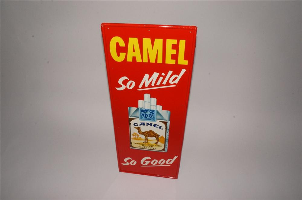 """N.O.S. 1960's Camel """"So Mild-So Good"""" vertical tin sign with cigarette pack graphic. - Front 3/4 - 162115"""