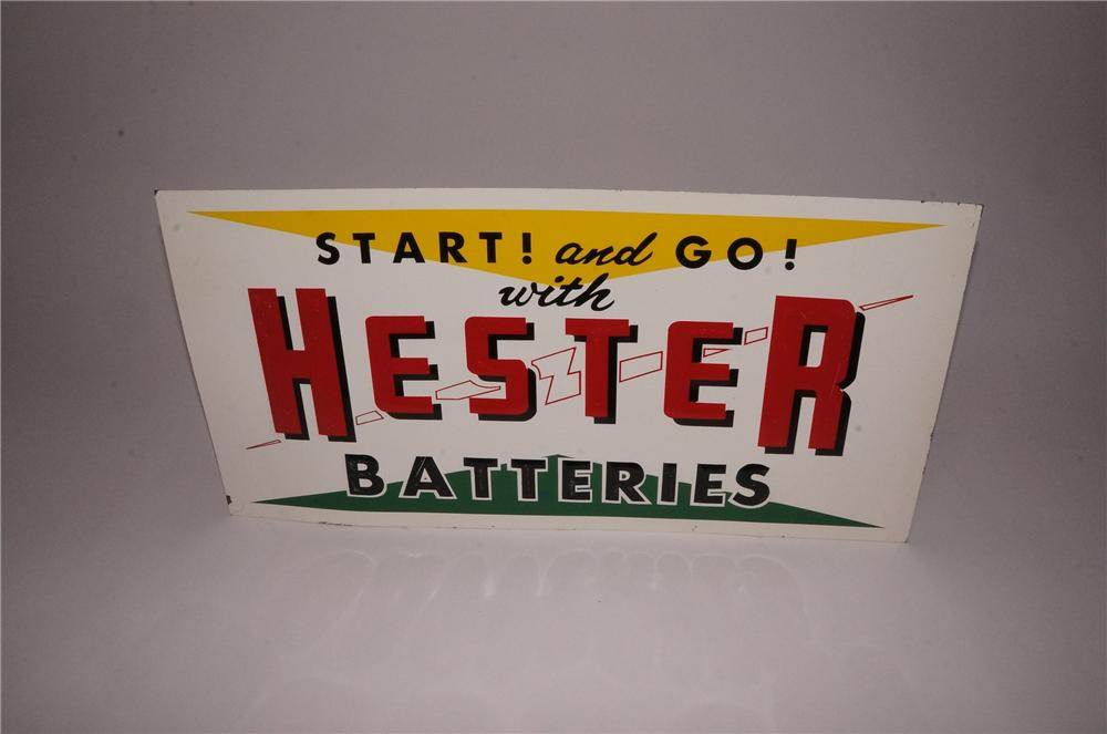 Good looking Hester Batteries single-sided embossed tin garage sign. - Front 3/4 - 162117