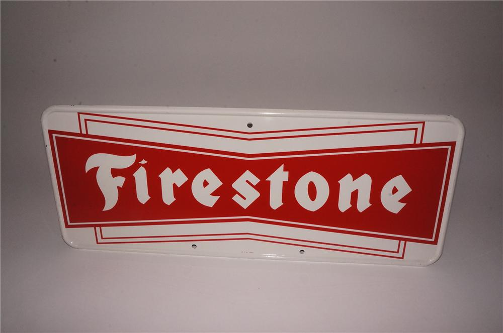 N.O.S. Firestone Tires single-sided tin painted garage sign. - Front 3/4 - 162118