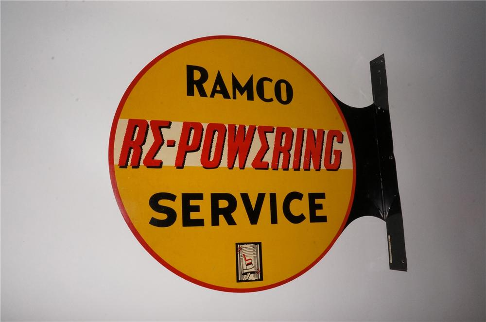 Scarce 1930's Ramco Piston Rings double-sided tin automotive garage flange with piston graphic. - Front 3/4 - 162119