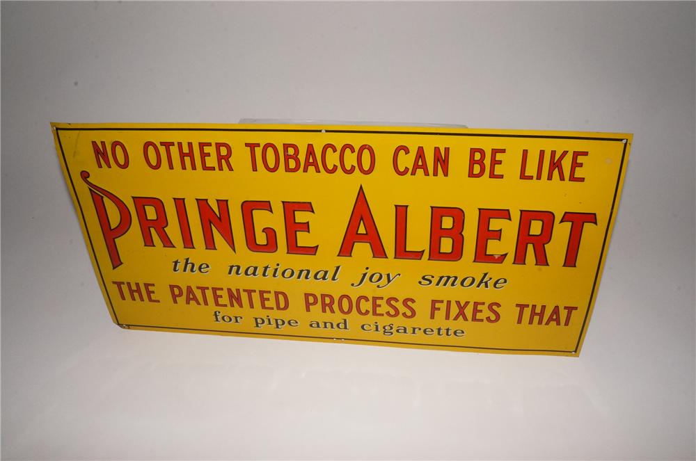 N.O.S. 1930's Prince Albert Tobacco embossed tin general store sign. - Front 3/4 - 162120