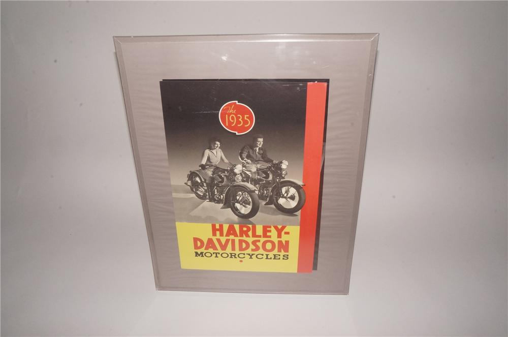 Fantastic N.O.S. 1935 Harley-Davidson Motorcycles showroom poster with nice graphics. - Front 3/4 - 162121