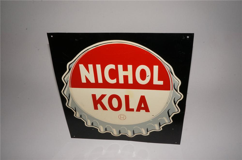 N.O.S. 1940's Nichol Kola embossed tin sign with bottle cap graphic. - Front 3/4 - 162123