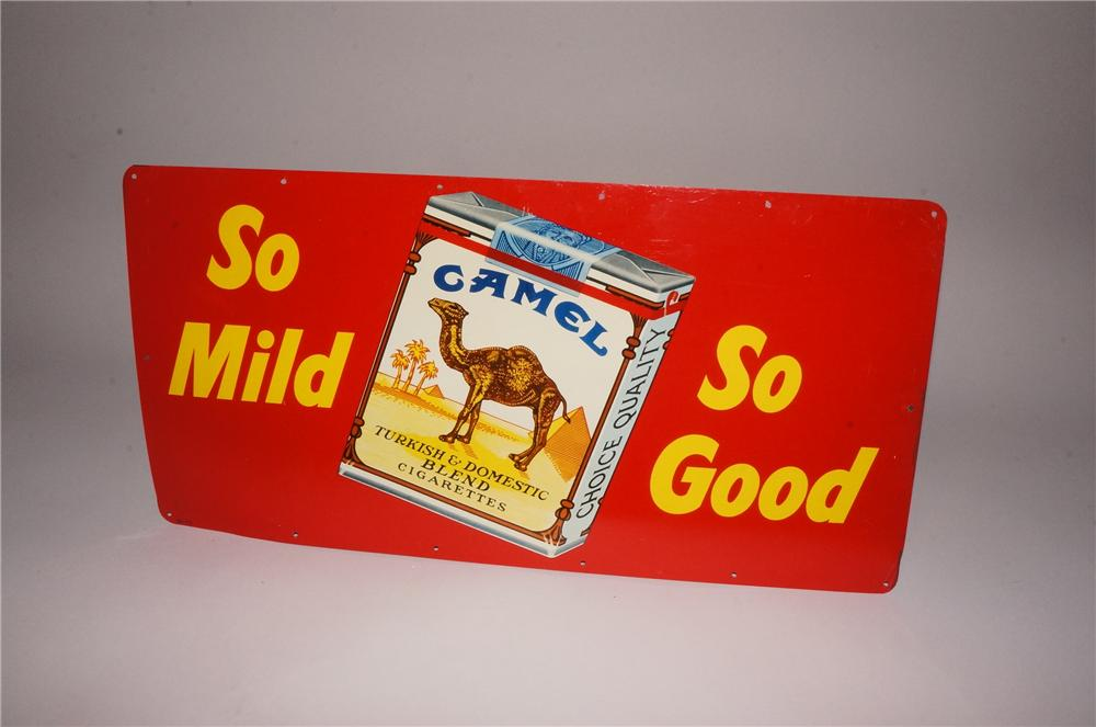 """N.O.S. 1960's Camel Cigarettes """"So Mild-So Good"""" tin sign with cigarette pack graphic. - Front 3/4 - 162124"""