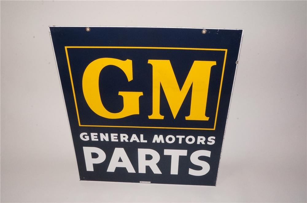 Sharp 1950's GM-General Motors Parts double-sided porcelain dealership sign. - Front 3/4 - 162128