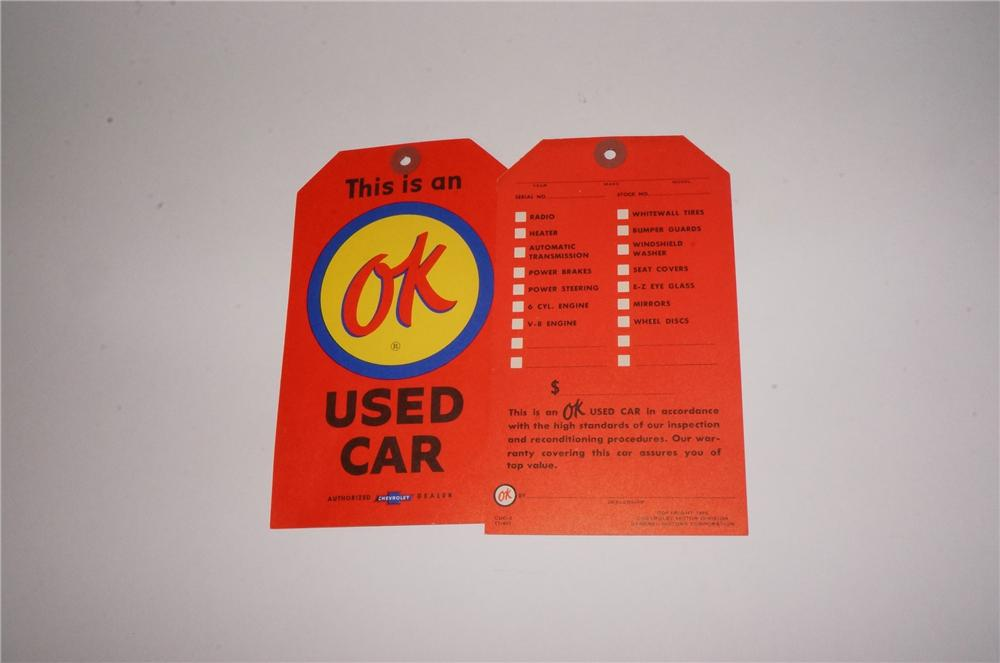 Fantastic N.O.S. lot of two 1960 Chevrolet OK Used Cars sale lot price tags. - Front 3/4 - 162201