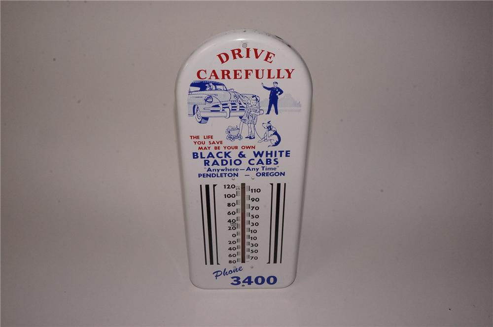 1950's Black and White Radio Cabs tin painted thermometer with excellent period graphics. - Front 3/4 - 162203