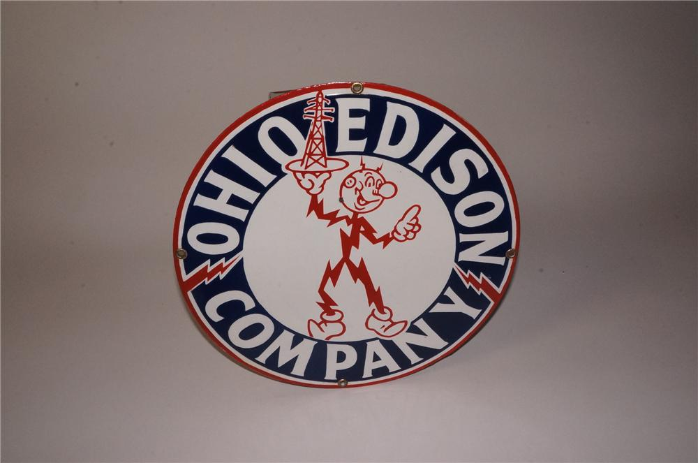 Spectacular 1930's Ohio Edison Electric Company porcelain sign featuring Reddy Kilowatt. - Front 3/4 - 162204