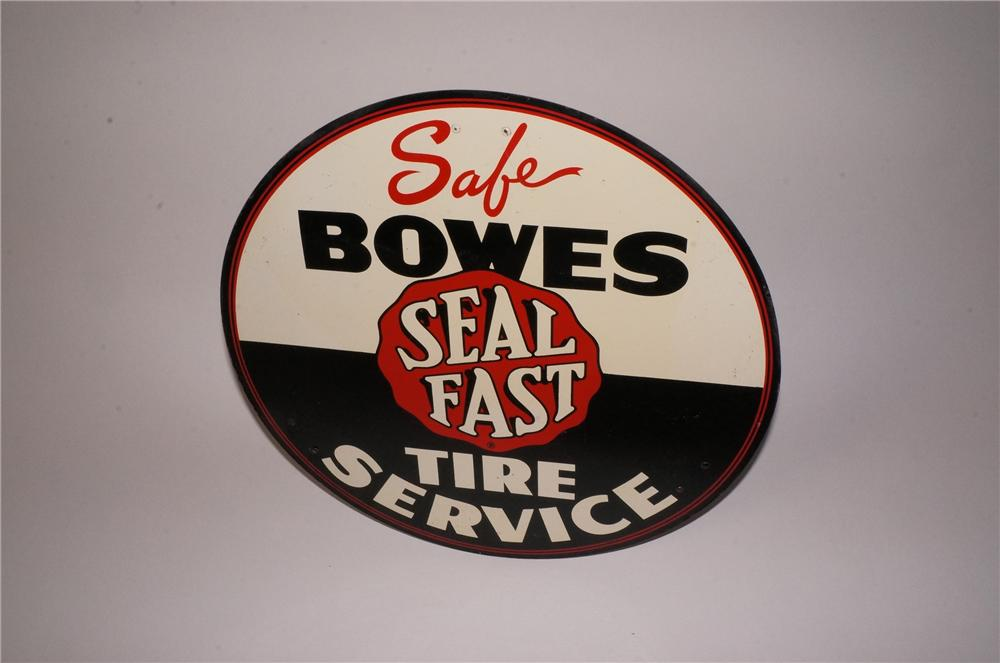 N.O.S. 1950's Bowes Seal Fast Tire Service automotive garage tin sign. - Front 3/4 - 162206