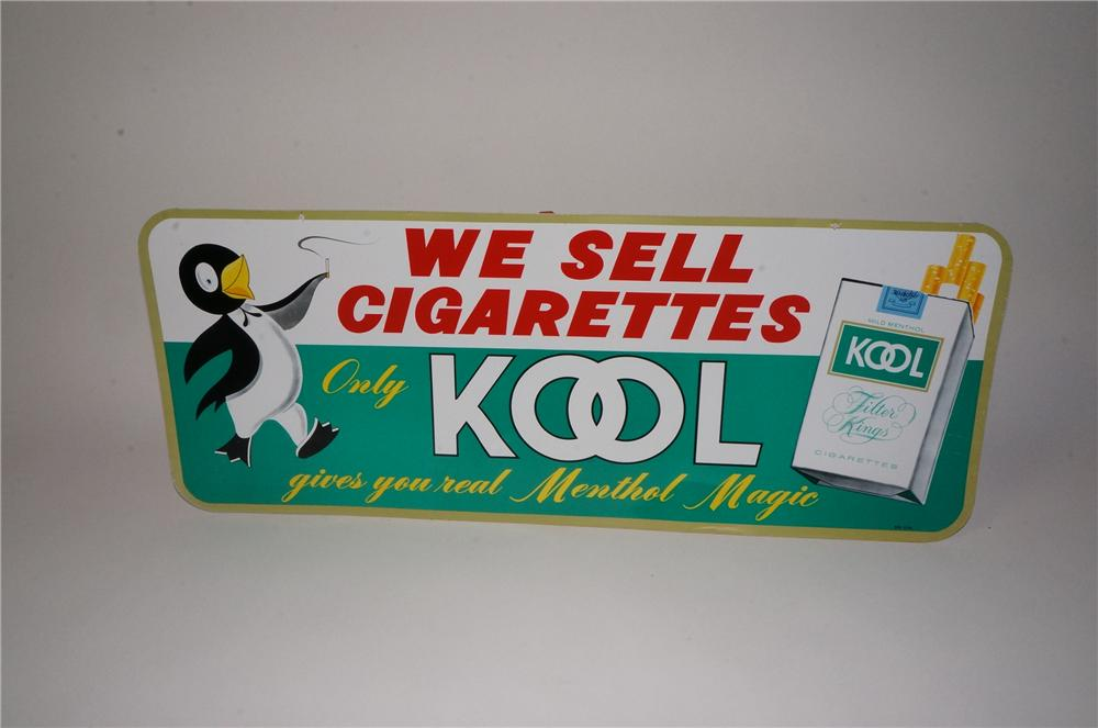 Nifty 1960's Kool Cigarettes tin sign with adorable Penguin logo and cigarette pack graphic. - Front 3/4 - 162207