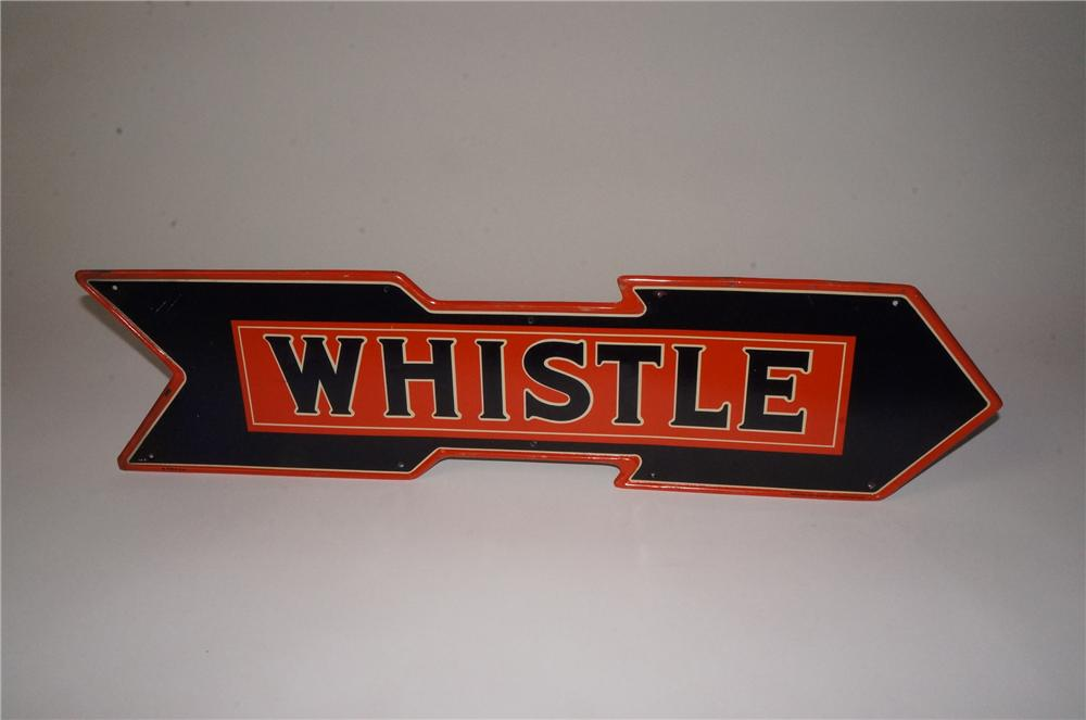 Rare N.O.S. Whistle Orange Soda die-cut tin arrow diner sign. - Front 3/4 - 162209