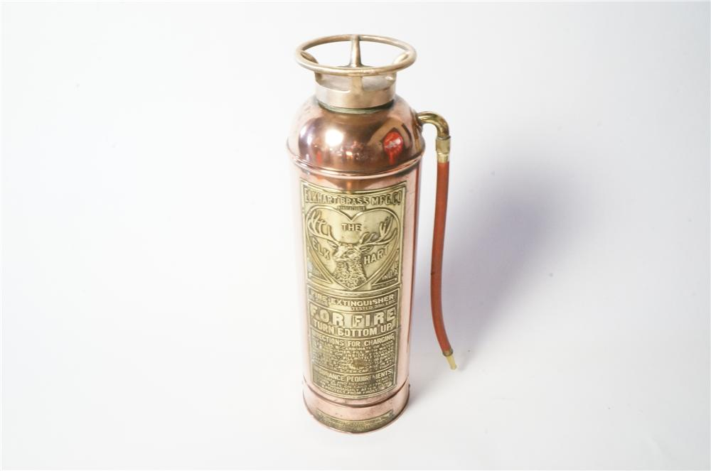 Stunning 1920's-30's Elk Hart Brass automotive garage fire extinguisher. - Front 3/4 - 162217