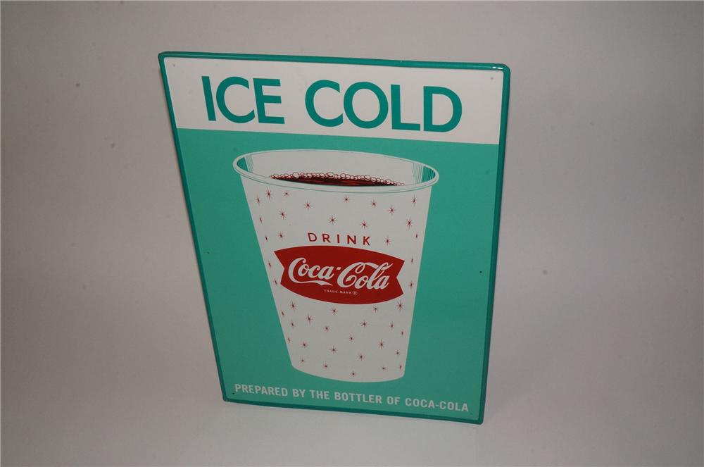 "Rare late 1950's-60's N.O.S. Drink Coca-Cola ""Ice-Cold"" soda fountain cup tin sign with green background. - Front 3/4 - 162461"