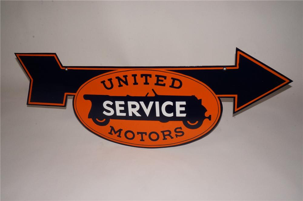 N.O.S. 1930's G.M. United Service Motors double-sided die-cut porcelain garage arrow sign. - Front 3/4 - 162462