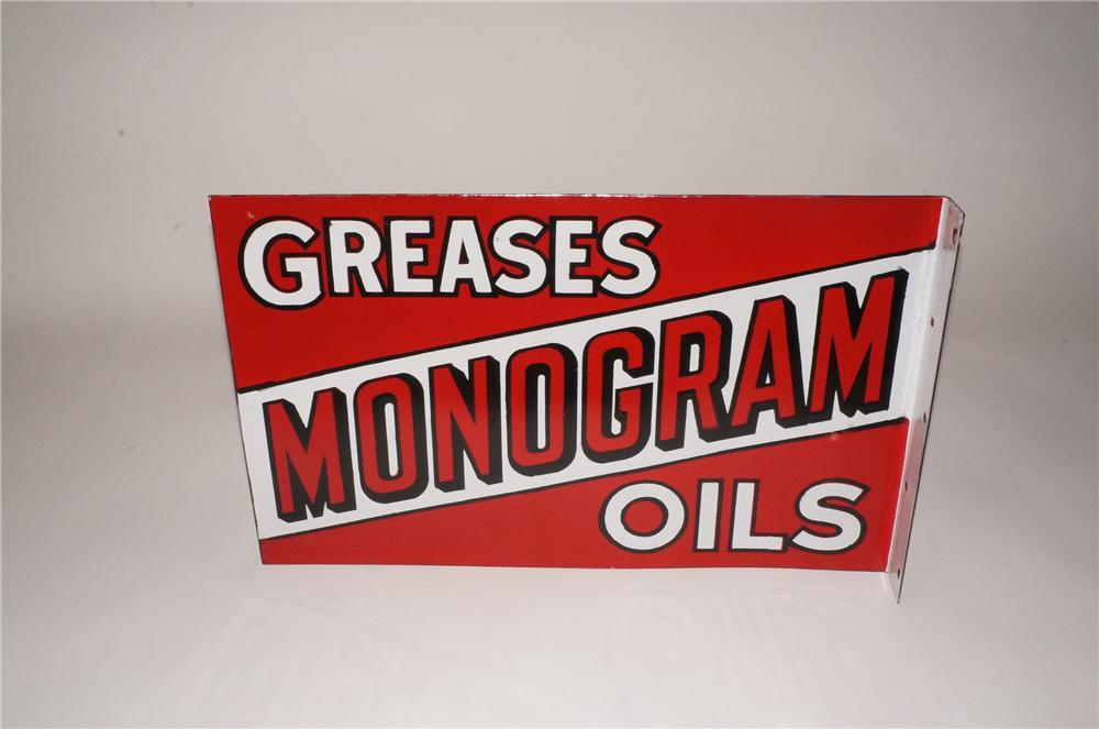 Super rare 1930's Monogram Oils-Greases double-sided porcelain garage sign with heavy shelving. - Front 3/4 - 162463