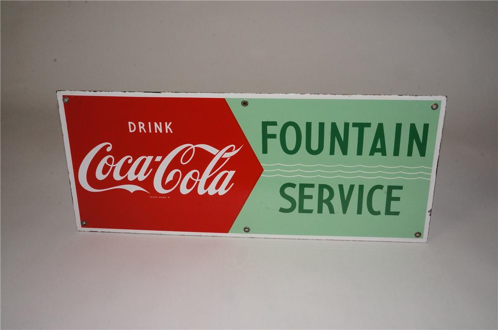 Scarce 1950's Drink Coca-Cola Fountain Service single-sided porcelain sign - Front 3/4 - 162464