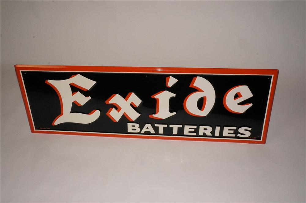 N.O.S. 1952 Exide Batteries single-sided embossed tin garage sign.  Pulled out of the original shipping paper! - Front 3/4 - 162465