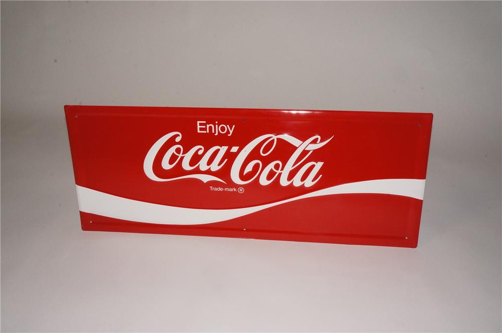 Very clean N.O.S. 1960's-70's Enjoy Coca-Cola embossed tin sign. - Front 3/4 - 162467