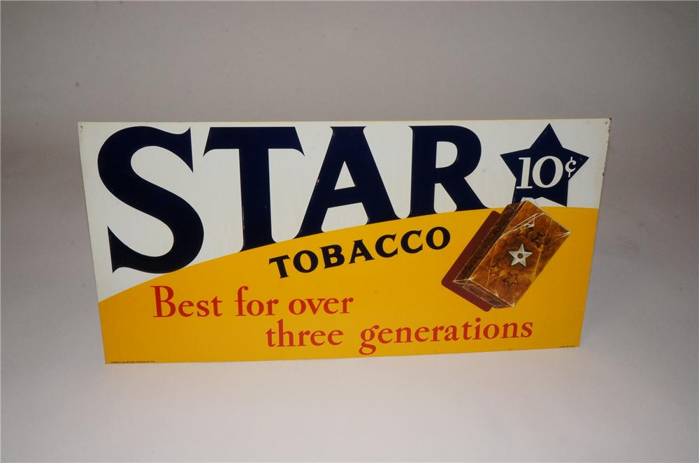 N.O.S. 1940's Star Tobacco tin sign with nice graphic. - Front 3/4 - 162469