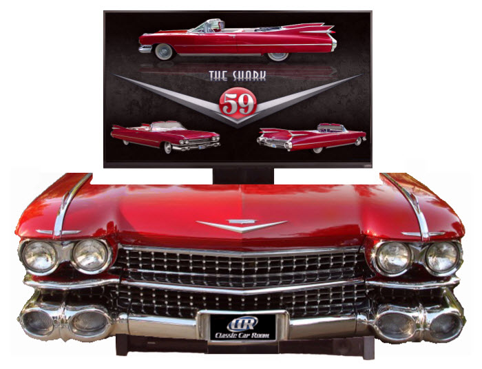 Cleverly made 1959 Cadillac Eldorado front end entertainment TV display. - Front 3/4 - 162473