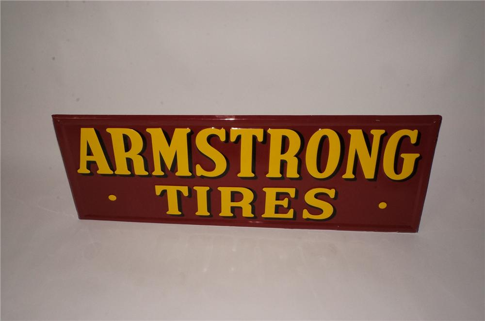 N.O.S. 1949 Armstrong Tires horizontal embossed tin automotive garage sign.  Very clean! - Front 3/4 - 162482