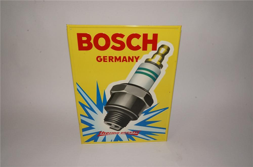 "Superb N.O.S. early 1960's Bosch Spark Plugs tin sign with over-sized spark plug graphic.  Can you say ""Porsche"". - Front 3/4 - 162483"