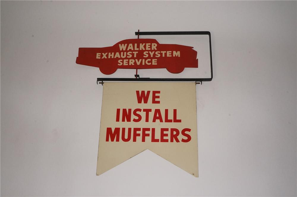 Very cool late 1950's Walker Muffler's double-side tin sign flanged sign with whirly design. - Front 3/4 - 162484