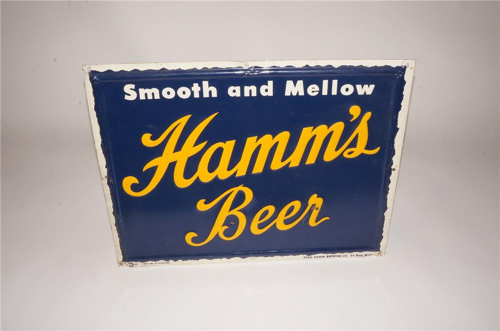 """Highly collectible 1950's Hamm's Beer """"Smooth and Mellow"""" single-sided embossed tin sign. - Front 3/4 - 162488"""