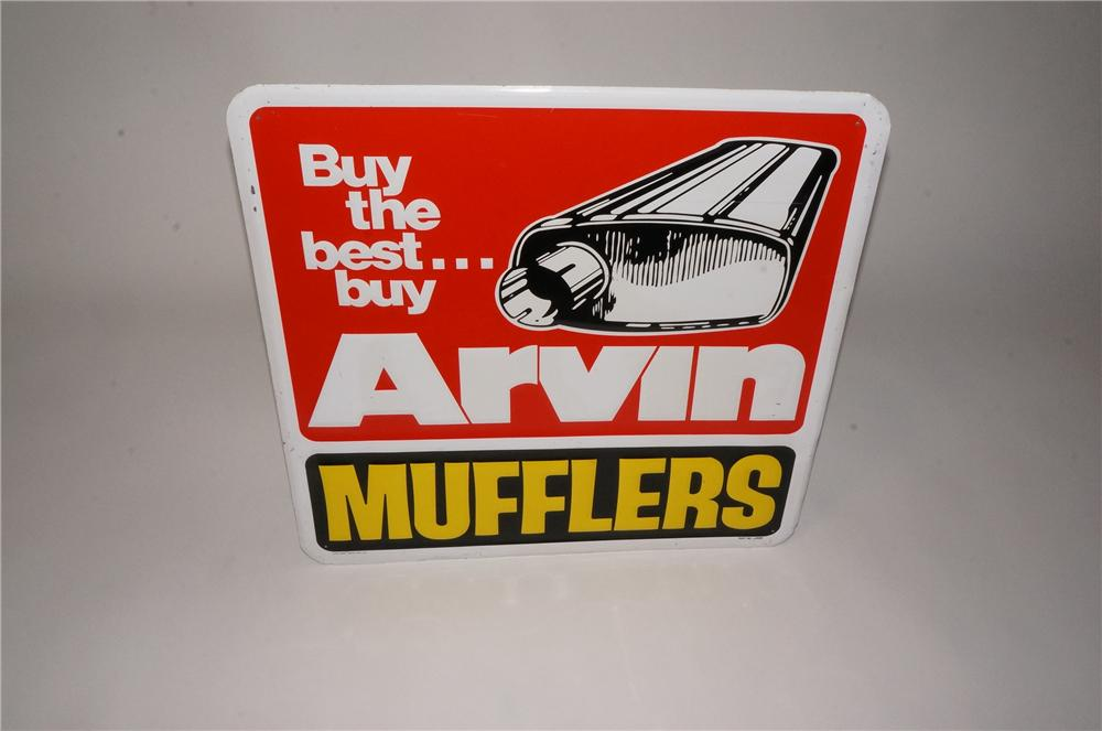 "Vintage Arvin Mufflers ""Buy the Best"" single-sided embossed tin garage sign. - Front 3/4 - 162490"