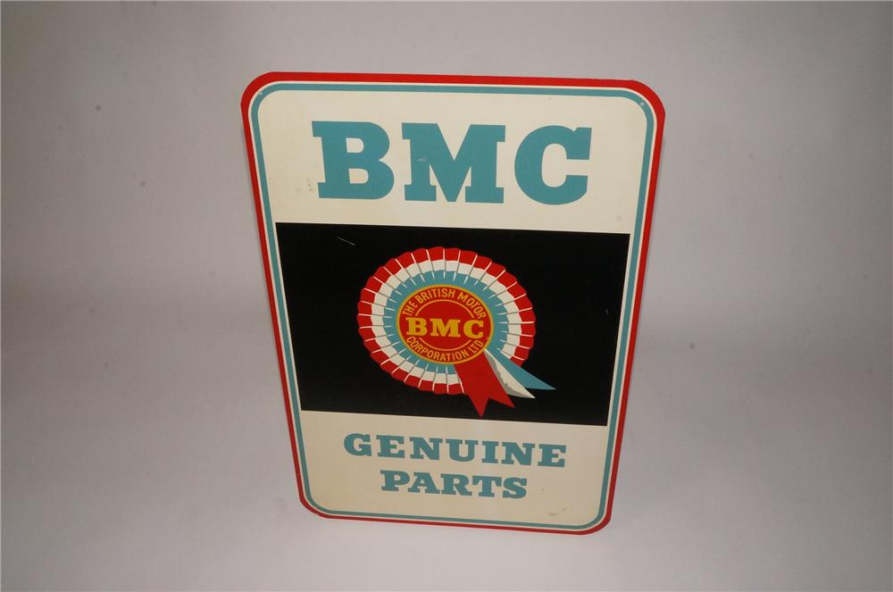 """Vintage BMC """"British Motor Corporation"""" Genuine Parts single-sided dealership sign.  Found in unused condition. - Front 3/4 - 162492"""