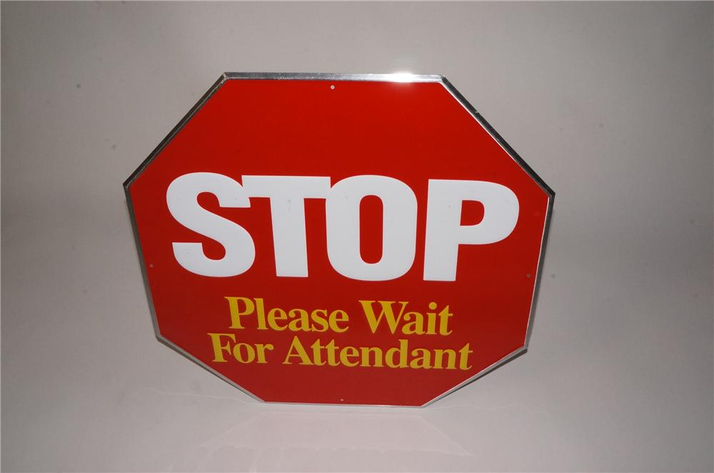 Choice N.O.S. Stop Please Wait For Attendant single-sided embossed tin service station fuel island sign. - Front 3/4 - 162493